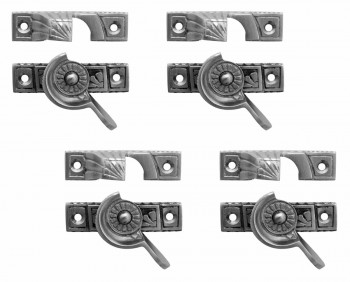 4 Ornate Solid Brass Window Sash Lock Satin Chrome