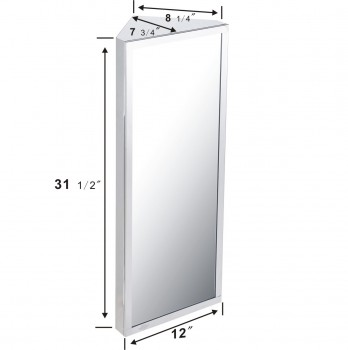 spec-<PRE>Brushed Stainless Steel Medicine Cabinet Corner Wall Mount</PRE>