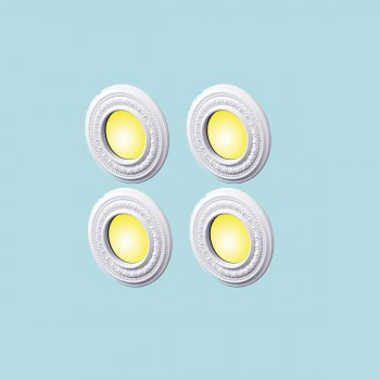 <PRE>4 Spot Light Trim Medallions 4inch ID White Urethane Set of 4 </PRE>zoom2
