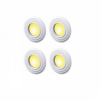 <PRE>4 Spot Light Trim Medallions 4inch ID White Urethane Set of 4 </PRE>zoom1