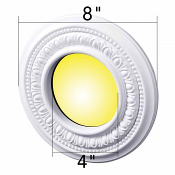 spec-<PRE>4 Spot Light Trim Medallions 4&quot; ID White Urethane Set of 4 </PRE>