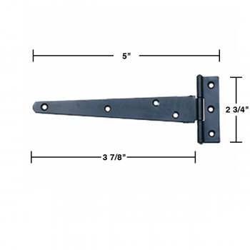 spec-<PRE>2 T Strap Door Hinge Black RSF Wrought Iron 5&quot; </PRE>