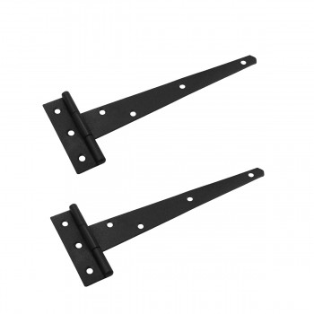 T Strap Door Hinge Black Iron RSF Finish Light Duty 9 Set of 2