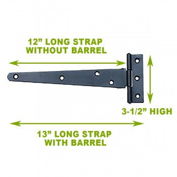 spec-<PRE>2 T Strap Door Hinge Black RSF Iron 13&quot; </PRE>