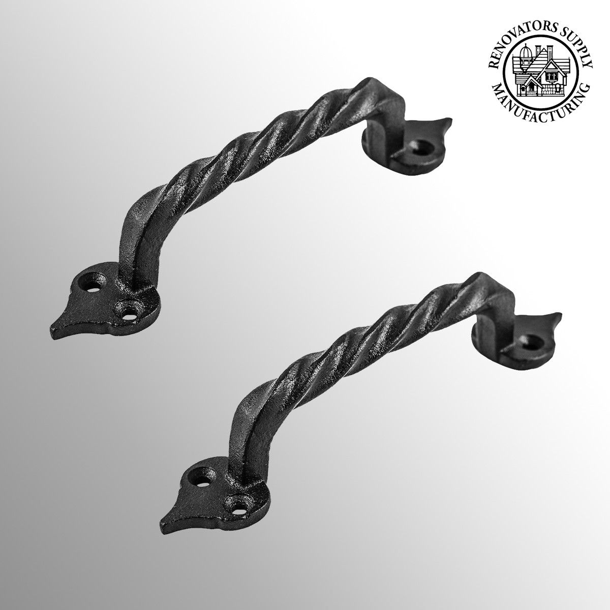 Black Iron Twisted Handle Cabinet Door Drawer Pull Set of 2