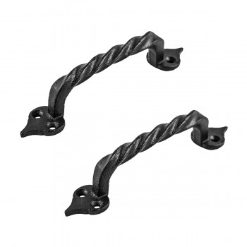 Cabinet Door Drawer Pulls Black Wrought Iron Twisted Handle Set of 2