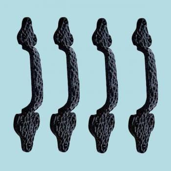 <PRE>4 Door Pull Leaf Black Wrought Iron 8inch </PRE>zoom2