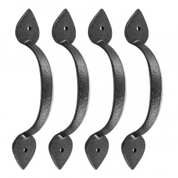 Wrought Iron Door Pulls  Black Rustproof Finish  Heart  678  Set of 4