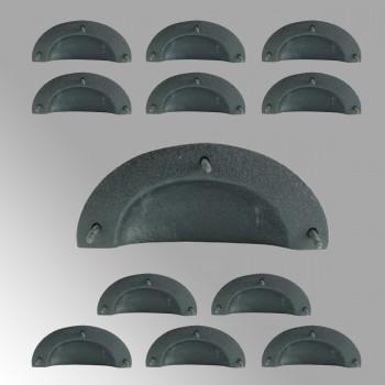 12 Cabinet Drawer Bin Pull Black Iron Cup 4