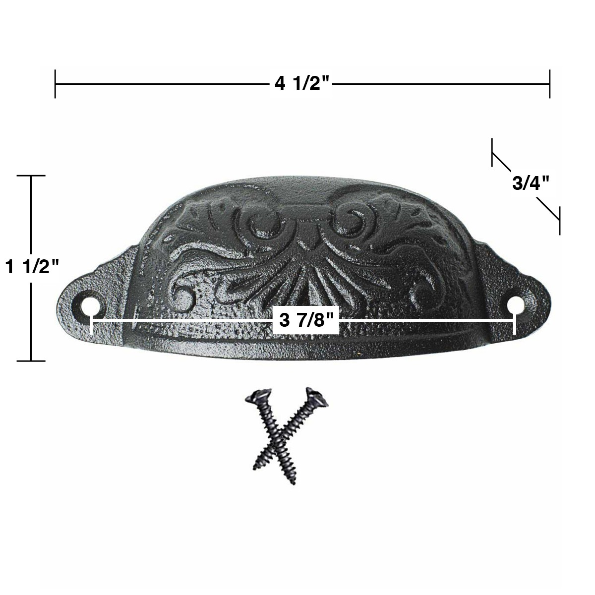 """<PRE>4 Cabinet or Drawer Bin Pull Black Iron Cup 4 1/2"""" x 1 1/2"""" H</PRE>"""