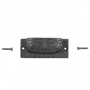 "<PRE>2 Cabinet or Drawer Bin Pull Black Iron Cup 3 1/2inch x 1 1/4"" H </PRE>zoom7"