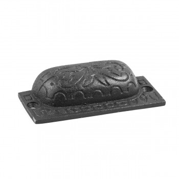 "<PRE>2 Cabinet or Drawer Bin Pull Black Iron Cup 3 1/2inch x 1 1/4"" H </PRE>zoom6"