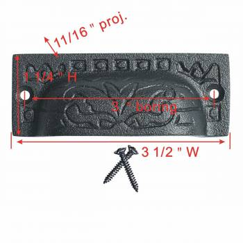 "spec-<PRE>2 Cabinet or Drawer Bin Pull Black Iron Cup 3 1/2"" x 1 1/4"" H </PRE>"