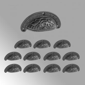 12 Black Cup Pulls Cabinet Drawer Iron Bin Pulls Cabinet Hardware  3 7/8
