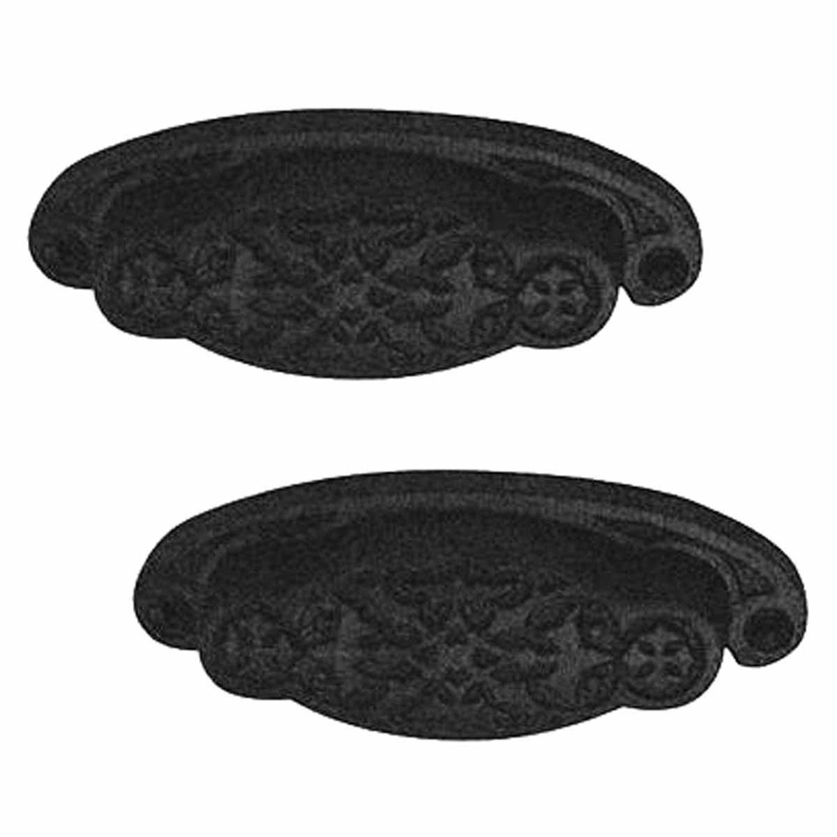 """2 Cabinet or Drawer Bin Pull Black Iron Cup 3 3/4"""" x 1 3/8"""" H"""