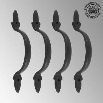 <PRE>4 Door Pulls Black Wrought Iron Fleur de Lis Set of 4 </PRE>zoom2