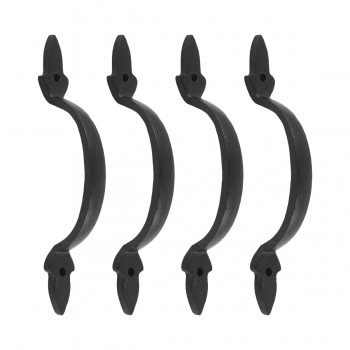 4 Door Pulls Black Wrought Iron Fleur de Lis Set of 4