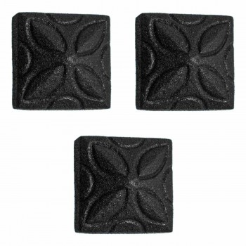 Square Ornate Pyramid Black Wrought Iron Nails Clavos Rustproof Iron Nails Set Of 3