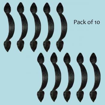 <PRE>10 Door Pulls Black Wrought Iron Rustproof Set of 10 </PRE>zoom2
