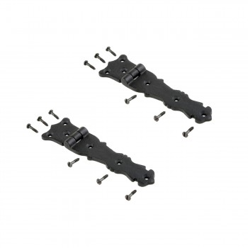 Strap Hinge Black Wrought Iron Fleur de Lis Strap Hinge 5 12 in Pack of 2