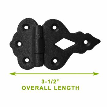 spec-<PRE>Hoosier Black Iron Cabinet Hinge 3/8 Offset 3 1/2 W Pack Of 4</PRE>
