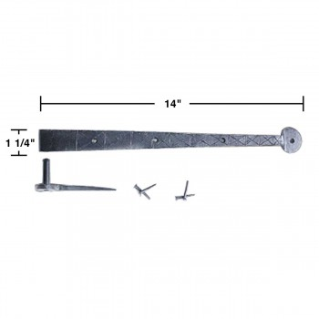 "spec-<PRE>4 Bean Diamond Etch Pintle Door Strap Hinge Iron 14"" </PRE>"