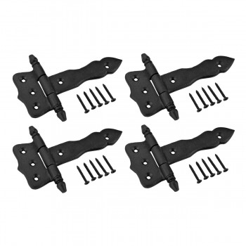 Cabinet Hinge Door Gate Black Wrought Iron Hinge Rustproof 5 in Set of 4