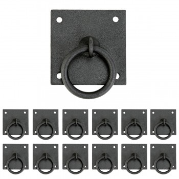 Iron Cabinet Pulls Black RSF Coating Cabinet Ring Pulls 1 3/4 Inch Pack of 12