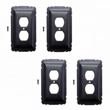 4 Switchplate Black Steel Outlet Switchplate Black RSF over Steel