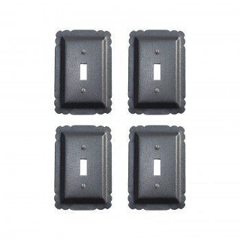 Black Steel Switchplates Single Toggle Rustproof Finish Set of 4