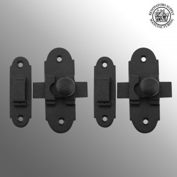 Slide Style Cabinet Latch Black Iron 3 1/4 Inch x 1 1/4 Inch 2 Pack