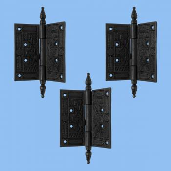 <PRE>Wrought Iron Butt Hinge Black Victorian Steeple Tip Pack of 3</PRE>zoom2