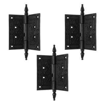 Wrought Iron Butt Hinge Black Victorian Steeple Tip Pack of 3