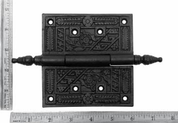 spec-<PRE>Wrought Iron Butt Hinge Black Victorian Steeple Tip Pack of 3</PRE>