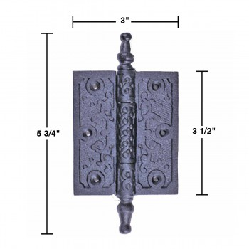 spec-<PRE>2 Victorian Door Butt Hinge Steeple Tip Wrought Iron 3&quot; W </PRE>