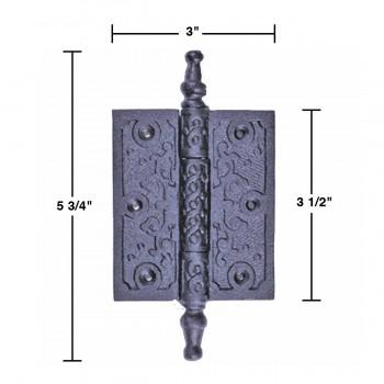 """spec-<PRE>2 Victorian Door Butt Hinge Steeple Tip Wrought Iron 3"""" W </PRE>"""