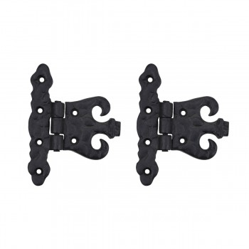 2 Wrought Iron Hinge Black Rustproof Door or Cabinet