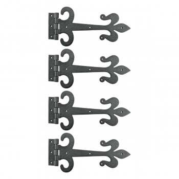 4 Door Hinge Black Wrought Iron Strap Fleur de Lis 12