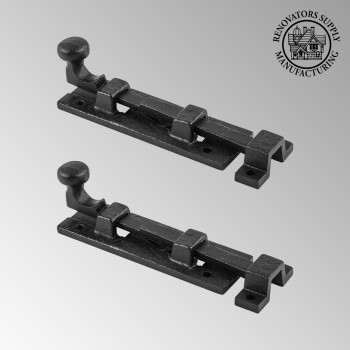 <PRE>2 Black Wrought Iron  Cabinet or Door Slide Bolt 4inch W </PRE>zoom2