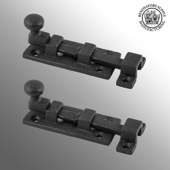 <PRE>2 Wrought Iron Slide Bolt - 3inch Wide - Black - Rustproof Finish </PRE>zoom2