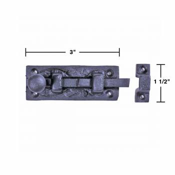 spec-<PRE>2 Wrought Iron Slide Bolt - 3&quot; Wide - Black - Rustproof Finish </PRE>