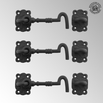 <PRE>3 Iron Cabin Hooks Eye Shed Door Latch Black Fancy 5 1/2inch </PRE>zoom2
