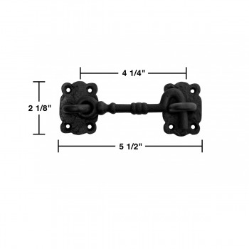 spec-<PRE>3 Iron Cabin Hooks Eye Shed Door Latch Black Fancy 5 1/2&quot; </PRE>