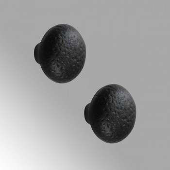Cabinet Knob Black Wrought Iron   2 Pack 1 1/4