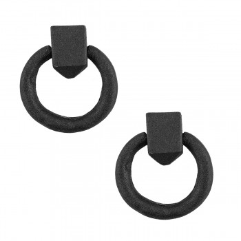 Cabinet Pull Wrought Iron Ring Pull Door Black Rustproof 178 in Dia Set of 2
