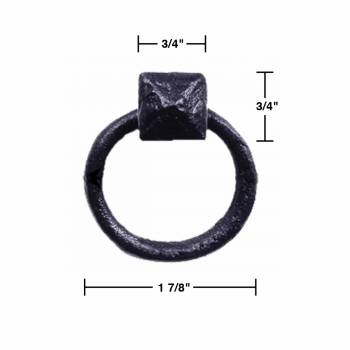 spec-<PRE>Cabinet Pull Wrought Iron Ring Pull Door Black Rustproof 1-7/8 in Dia Set of 2</PRE>