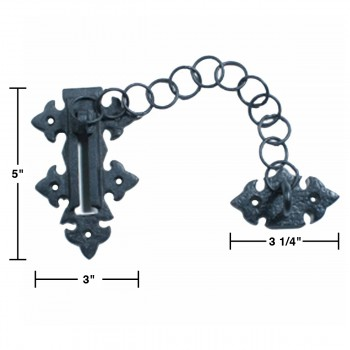 spec-<PRE>4 Chain Door Locks Black Wrought Iron Rustproof Set of 4 </PRE>