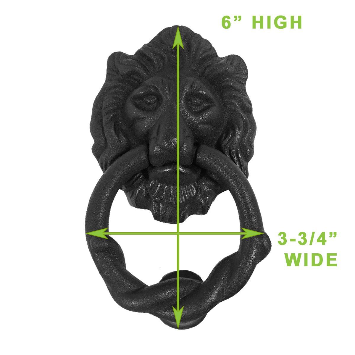 <PRE>10 Cast Iron Lion Door Knocker Matte Finish 6&quot; H x 3-3/4&quot; W </PRE>