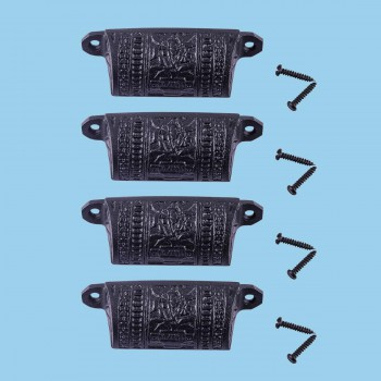 <PRE>Cabinet or Drawer Bin Pull Black Iron Cup 4&quot; W x 1 1/2&quot; H Pack of 4</PRE>