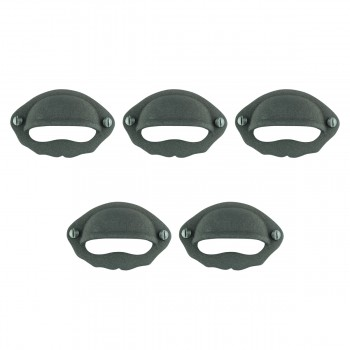 "<PRE>Cabinet or Drawer Bin Pull Black Iron Cup 3inch W x 2"" H Set of 5 </PRE>zoom1"